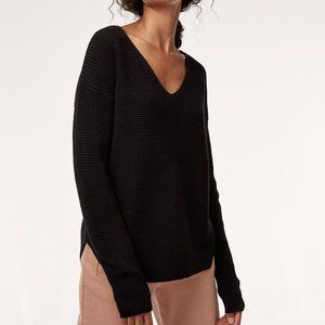 Aritzia Wilfred Free Wolter Sweater Black V Neck